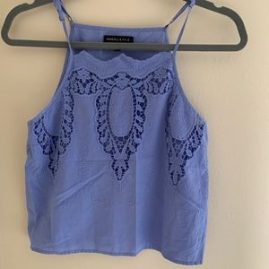 Cropped Kendall & Kylie Sleeveless Lace Blouse